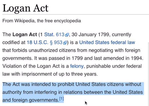 Michael Flynn Did Not Violate The Logan Act